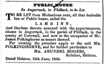 TO BE LET from Michaelmas next, all that desirable Inn or Public-house, called the  L A M B  I N N  | 1850 | Angarrack Inn