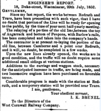 29 July 1852 Brunel ENGINEER'S REPORT West Cornwall Railway Company