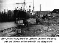 Early 20th century photo of Carnsew Channel and dock, with the sawmill and chimney in the background