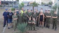 Air cadets with Jacqui Owen and Howard Burns from CORMAC