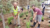 Nigel Powell Chairman of Hayle in Bloom with Prince's TRust volunteer Ben