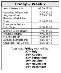 Week 2 timetable (July 2018 to December 2018) includes Tresowes, Breage, Porthleven, Nancegollan, Crowan, Black Rock, Bolenowe, Carnkie(Redruth), Portreath, Lizard, Ruan Minor, Ponsongath, Coverack, Rosenithen, Porthallow, Tregarne, Gillan, Manaccan,