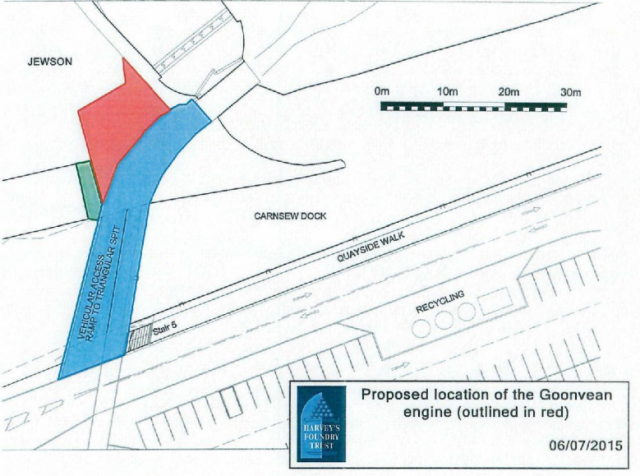 Proposed location of the Goonvean engine (outlined in red) 06/07/2015