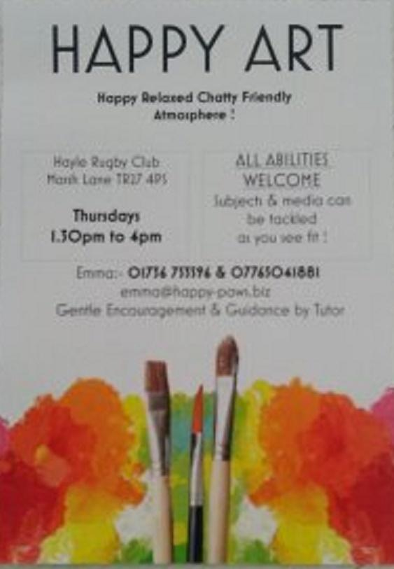 HAPPY ART Thursdays -- Fun relaxed friendly Art Class with gentle encouragement by tutor