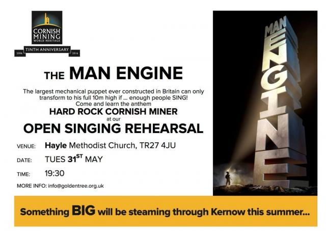 The largest mechanical puppet ever built in Britain is coming to Hayle, but he can only transform if people SING!