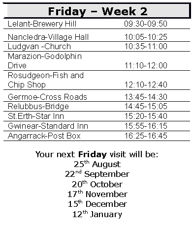 Week 2 timetable (Sept 2017 to end January 2018)
