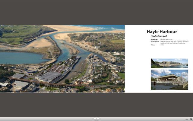 Hayle Harbour Hayle Cornwall Developer: ING RED Real Estate Description: Regeneration of quay with 70,000ft² (6,500m²) foodstore, non food retail and residential Value: £14m