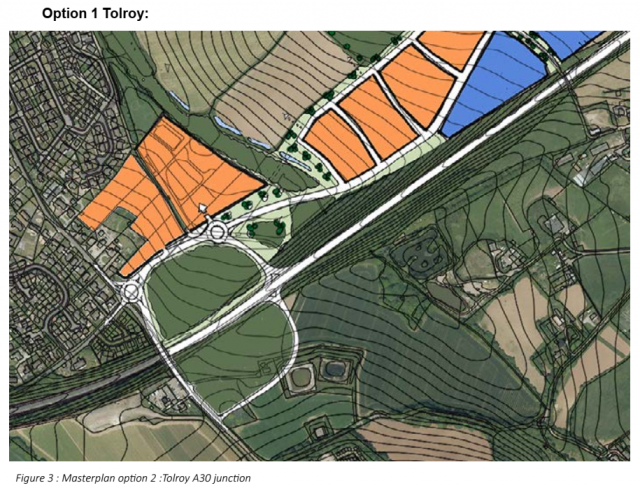 Option 1 Tolroy: Figure 3 : Masterplan option 2 :Tolroy A30 junction