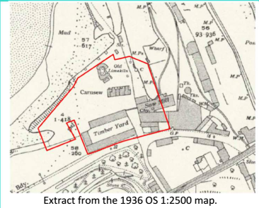 Extract from the 1936 OS 1:2500 map | Carnsew Docks