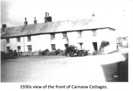 1930s view of the front of Carnsew Cottages