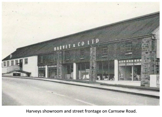 Harveys showroom and street frontage on Carnsew Road