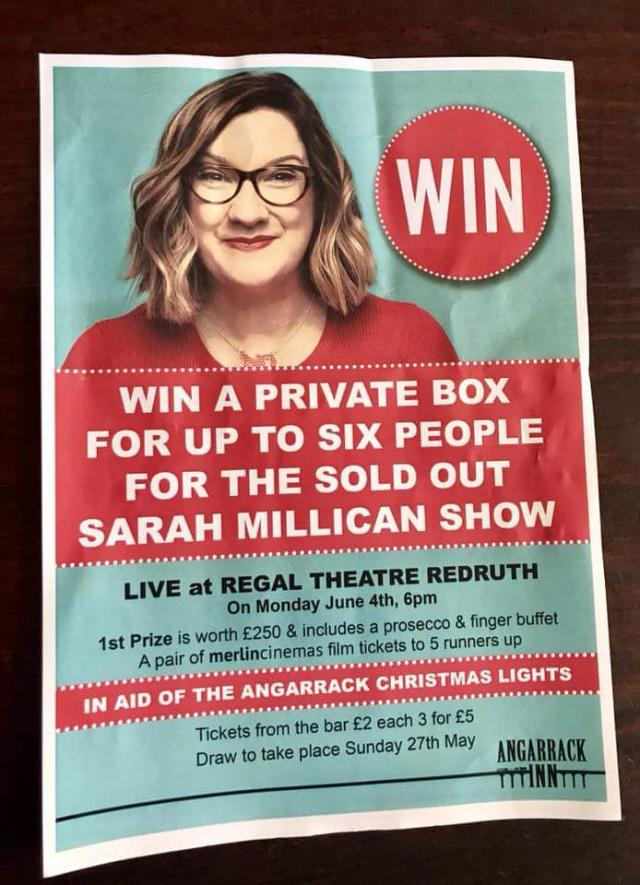 Support the Angarrack Christmas lights and win a private box for Sarah Millican Show live at Regal theatre Redruth ????