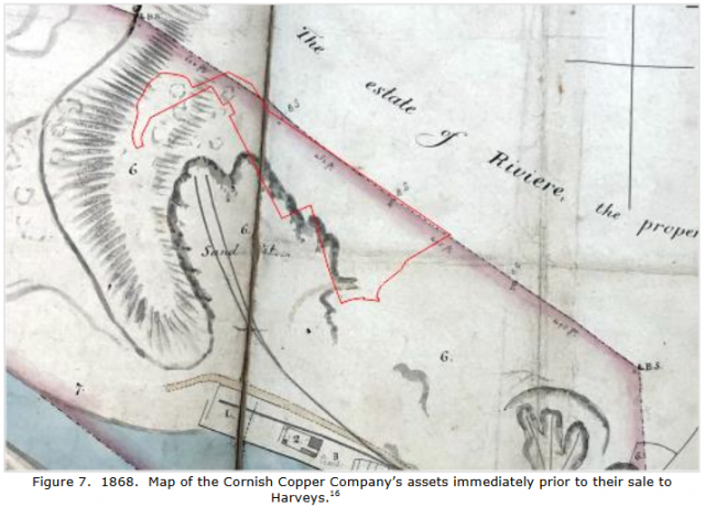 Figure 7.  1868.  Map of the Cornish Copper Company's assets immediately prior to their sale to Harveys