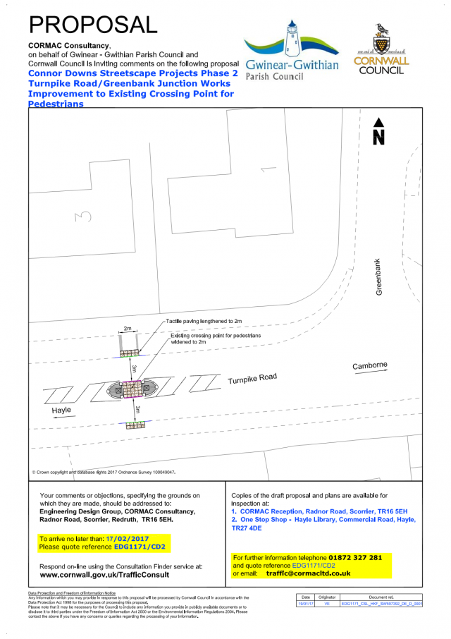 Consultation Connor Downs Turnpike Road/Greenbank Junction - Pedestrian Crossing Works Streetscape Projects Phase 2 (EDG1171/CD2) (Region West)