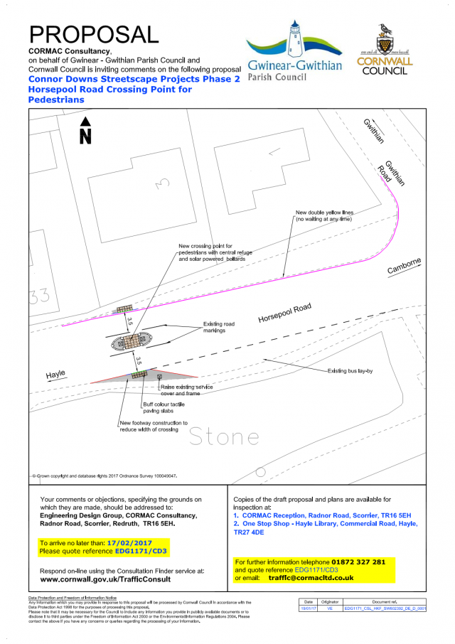 Consultation Connor Downs, Horsepool Road Pedestrian Crossing Works - Streetscape Projects Phase 2 (EDG1171/CD3) (Region West)
