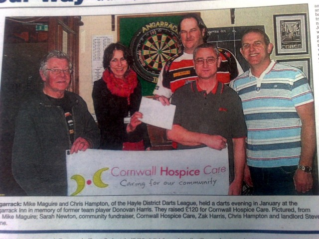 Darts Fundraising at Angarrack Inn In Memory of Donovan Harris