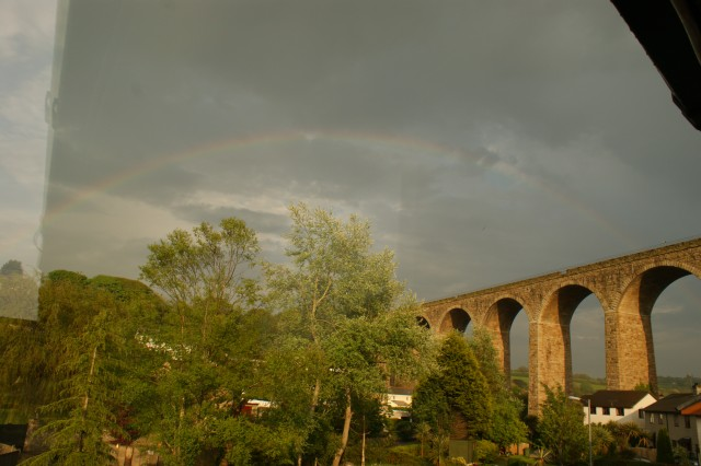 Rainbow over viaduct
